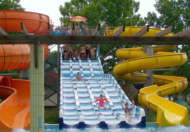 Slide swimming summer.