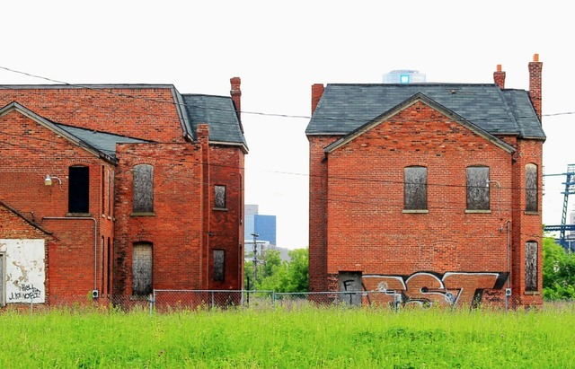 Slum rundown abandoned, architecture buildings.