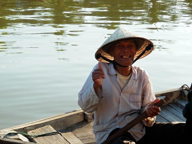Smile fisherman river, emotions.