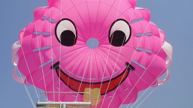 Smile parasailing wind, emotions.