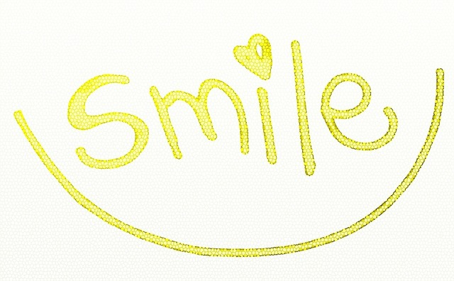 Smile text yellow, emotions.
