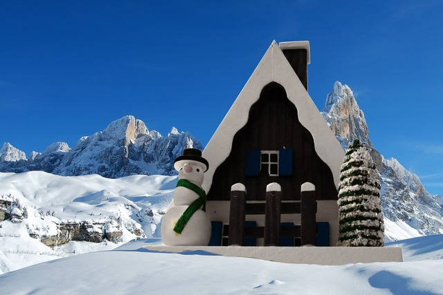 Smoked cottage christmas dolomites, architecture buildings.