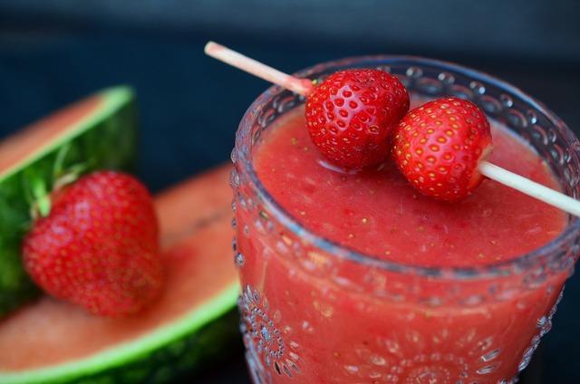 Smoothie watermelon strawberries, food drink.