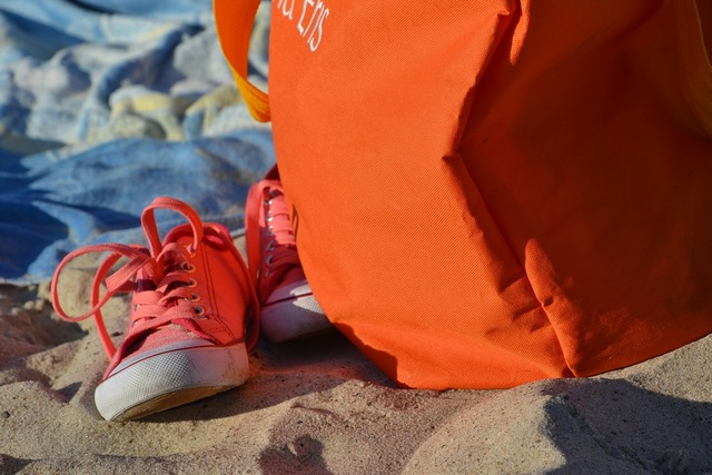 Sneakers beach trampy, travel vacation.