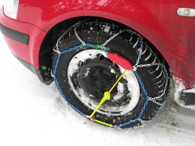 Snow chains mature profile, transportation traffic.