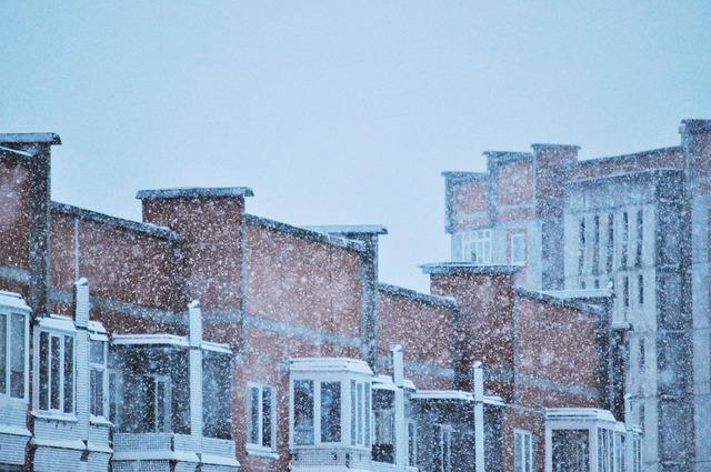 Snow evening building, architecture buildings.
