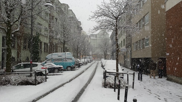 Snow winter city, architecture buildings.