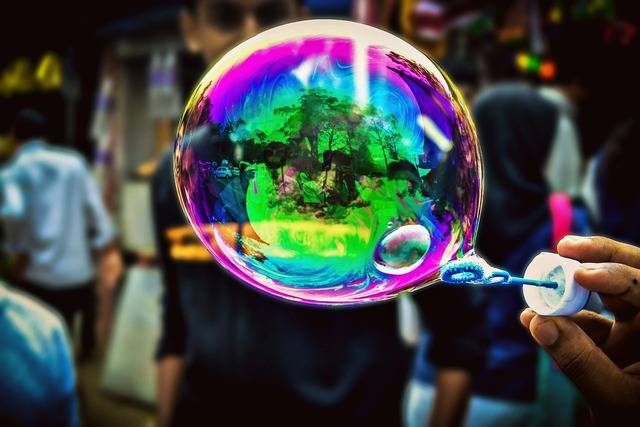 Soap bubbles photography fun, travel vacation.