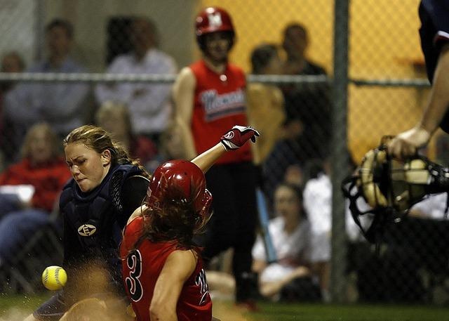Softball catcher female, sports.