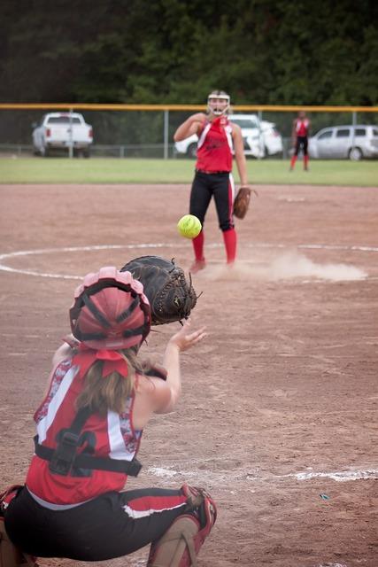 Softball game catcher, sports.