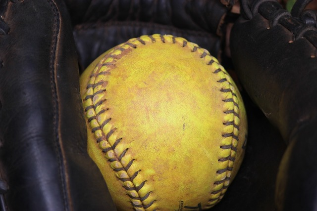 Softball glove ball, sports.