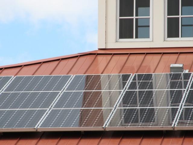 Solar panel array roof building, architecture buildings.