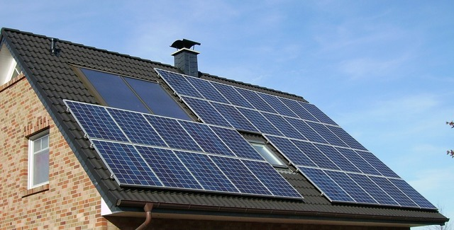 Solar panel array roof home, architecture buildings.