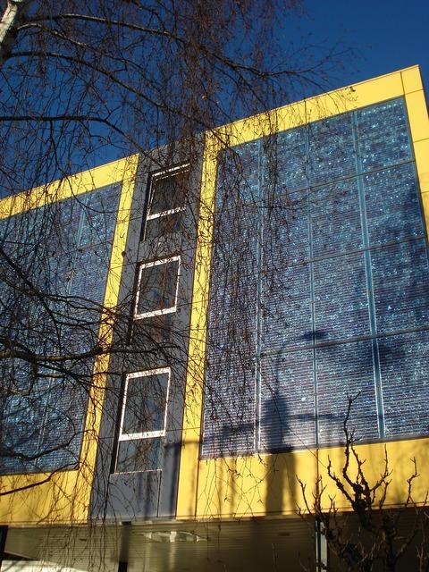 Solar panels facade architecture, architecture buildings.