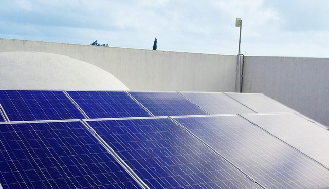 Solar power house, architecture buildings.