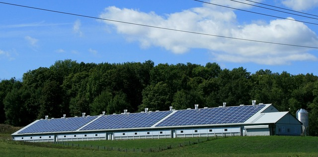 Solar power sun barn, science technology.