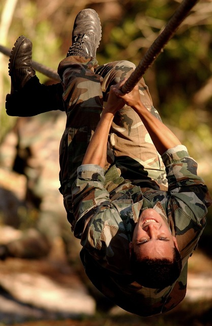 Soldier obstacle course, people.