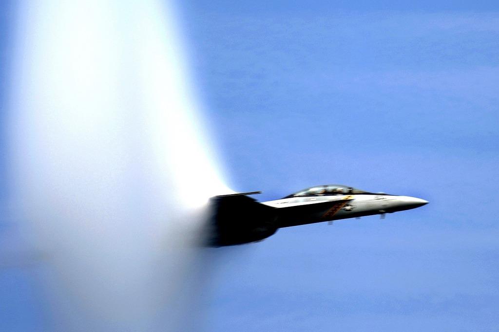 Sound barrier broken navy jet.