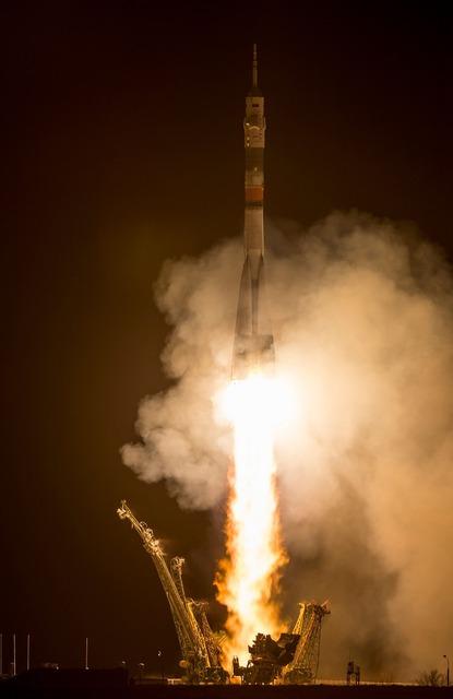 Soyuz rocket launch night.