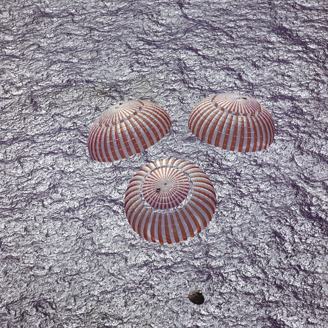 Space capsule parachuting apollo 16, travel vacation.