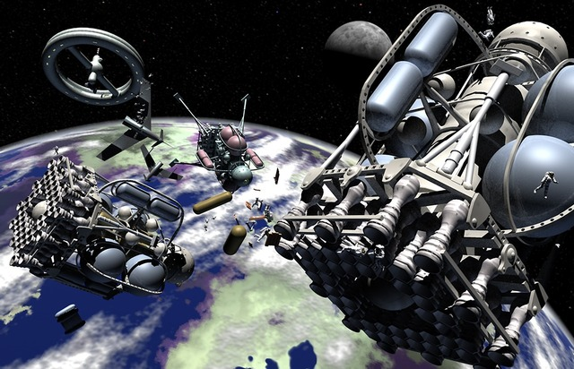 Space ships earth moon, science technology.