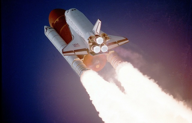 Space shuttle lift-off liftoff, science technology.