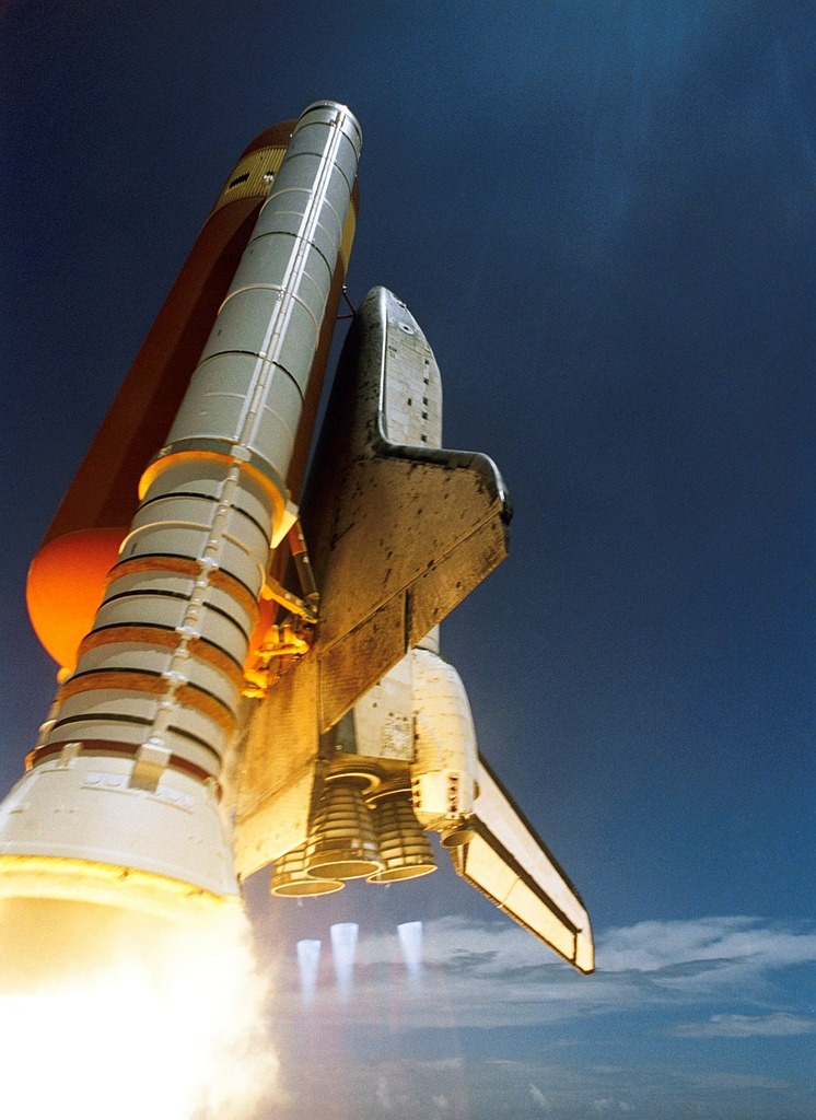 Space shuttle start discovery, science technology.