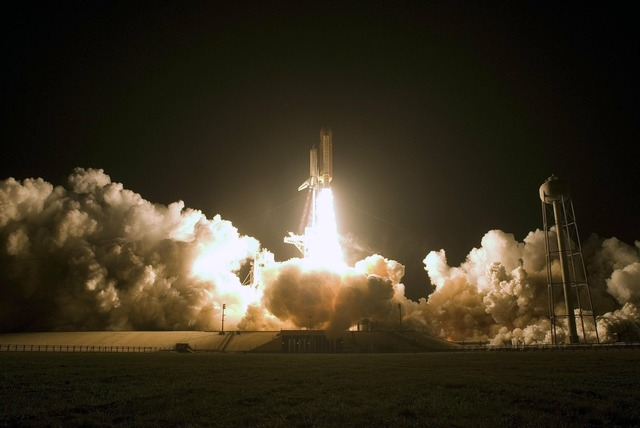 Space shuttle start fire, science technology.