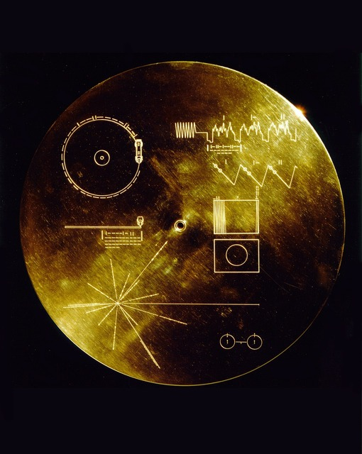 Space travel voyager golden record data sheets.
