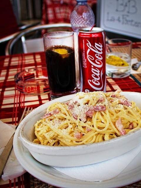 Spaghetti carbonara lunch.