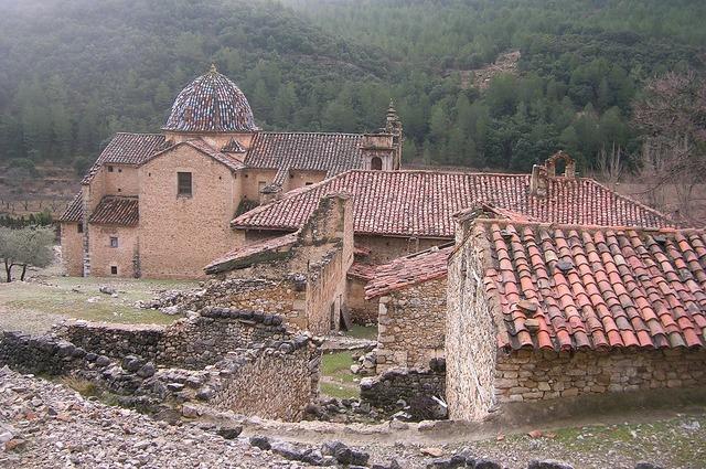 Spain village ruins, religion.
