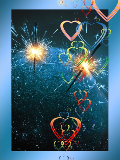 Sparkler heart love, emotions.