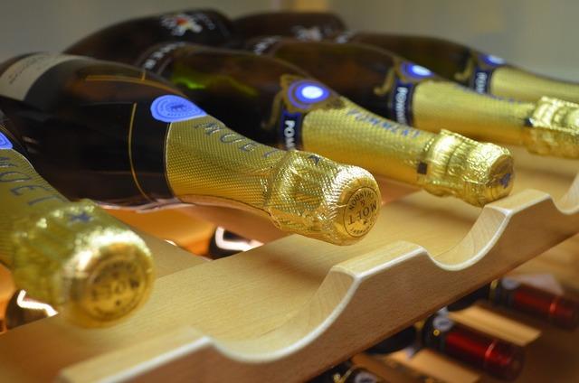 Sparkling wine bar bottle.