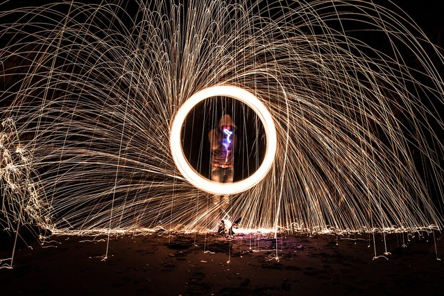 Sparks ring dark, travel vacation.