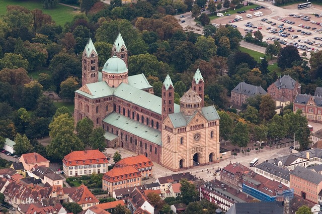 Speyer cathedral aerial view, architecture buildings.