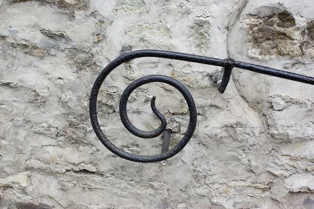 Spiral blacksmithing railing.