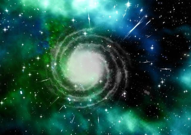 Spiral nebula starry sky space, science technology.