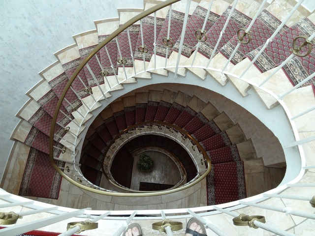 Spiral staircase lobby, architecture buildings.