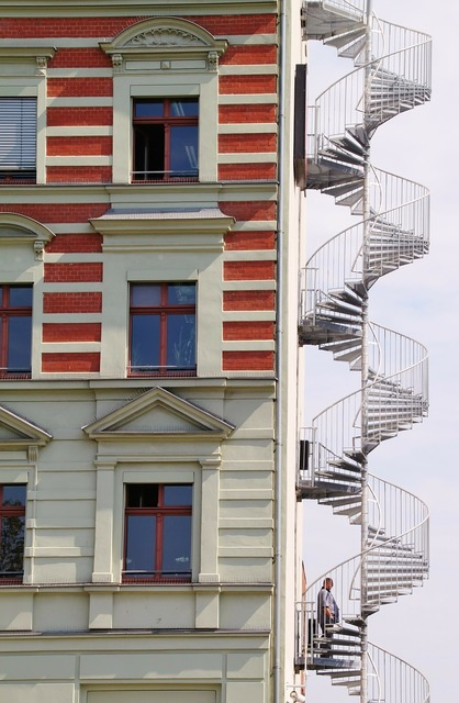 Spiral staircase stairs fire escape, architecture buildings.