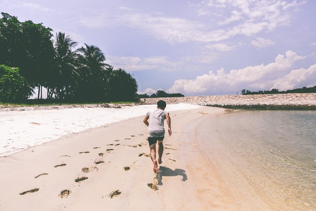 Sports running beach, travel vacation.