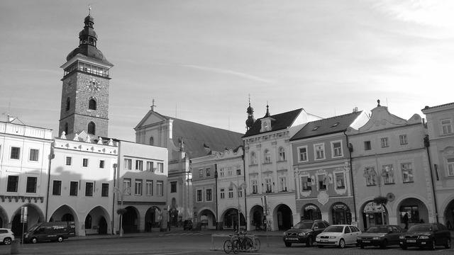 Square czech budejovice black tower.