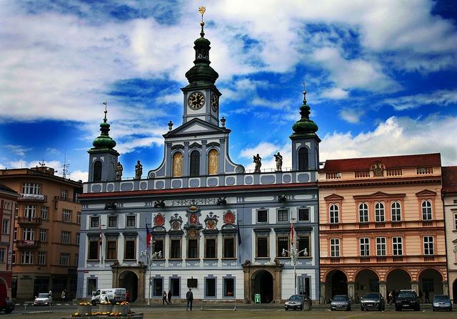 Square czech budejovice south bohemia, architecture buildings.
