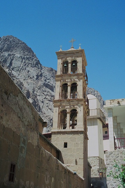 St catherine's monastery bell tower minaret of the mosque, nature landscapes.