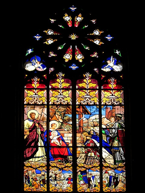 St gatien cathedral visit of the magi stained glass.
