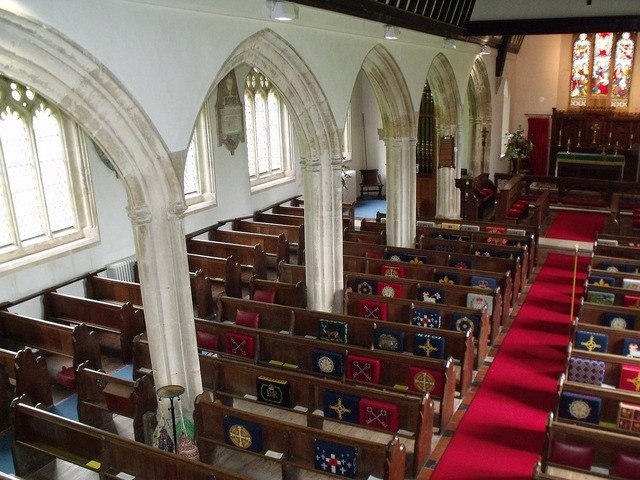 St george's morebath church interior, religion.