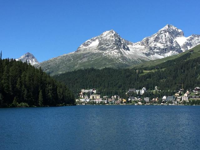 St moritz alpine lake.