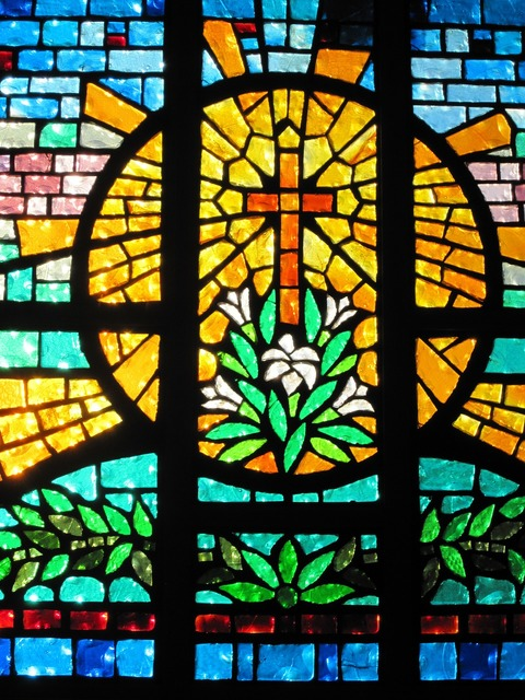 Stained glass cross church, religion.