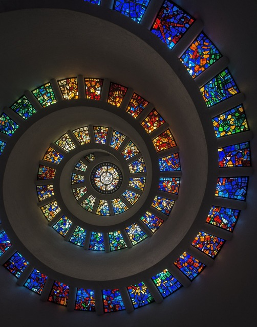 Stained glass spiral window, backgrounds textures.