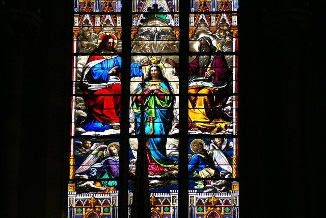 Stained glass window church, religion.