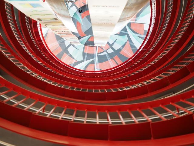 Staircase futuristic architecture, architecture buildings.
